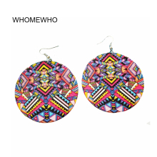 Colorful Wood Round Africa Typical African Traditional Costumes Chic Tribal Earrings Vintage Wooden Party Accessory Club Jewelry