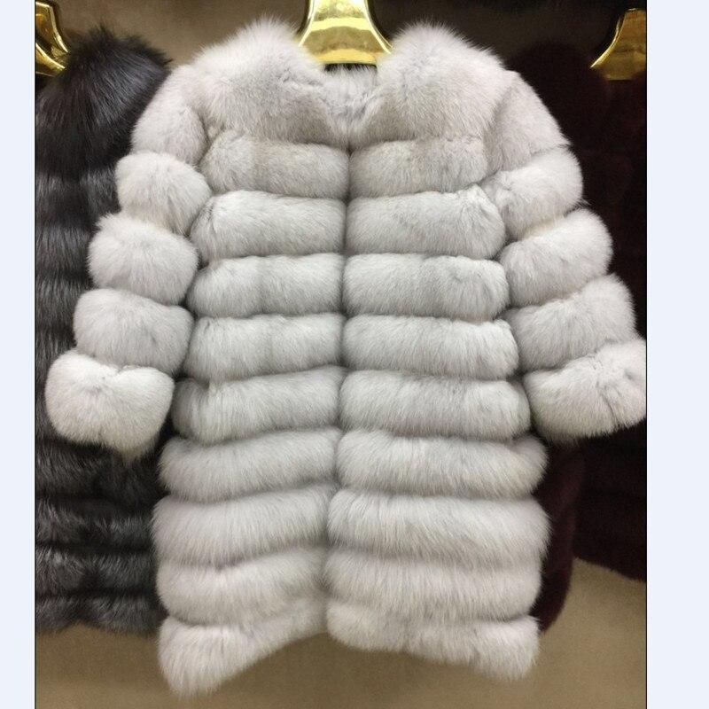 Новые брендовые зимние реальный голубой мех лисы пальто толстый теплый натуральный Мех животных из sables Для женщин коричневый длинная куртк...