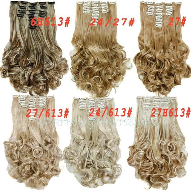 Hair Extensions Synthetic Hair with Clip 8pcs 18 Clips in Hair Extension 20″ Long Curly  Hairpiece Heat Resistant Hair