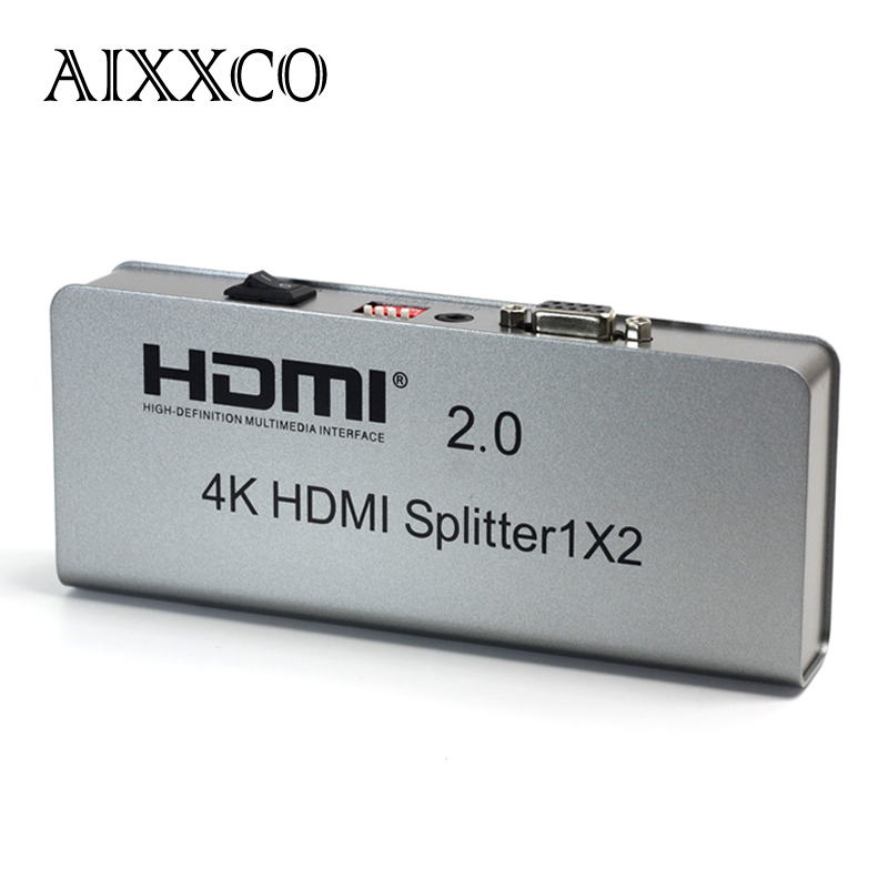 AIXXCO 4K 1X2 HDMI 2.0 Splitter 1080P 1 IN 2 Out HDMI Splitter Switcher With EDID RS232 HDCP Support IR Extender For HDTV 1 x 4 hdmi splitter hdmi 1 4 with 3d 4k support
