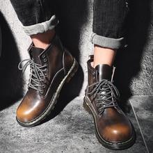 Retro Men Martin Boots Warm Fur Winter Male Footwear Slip On Shoes Ankle High Top 38-44