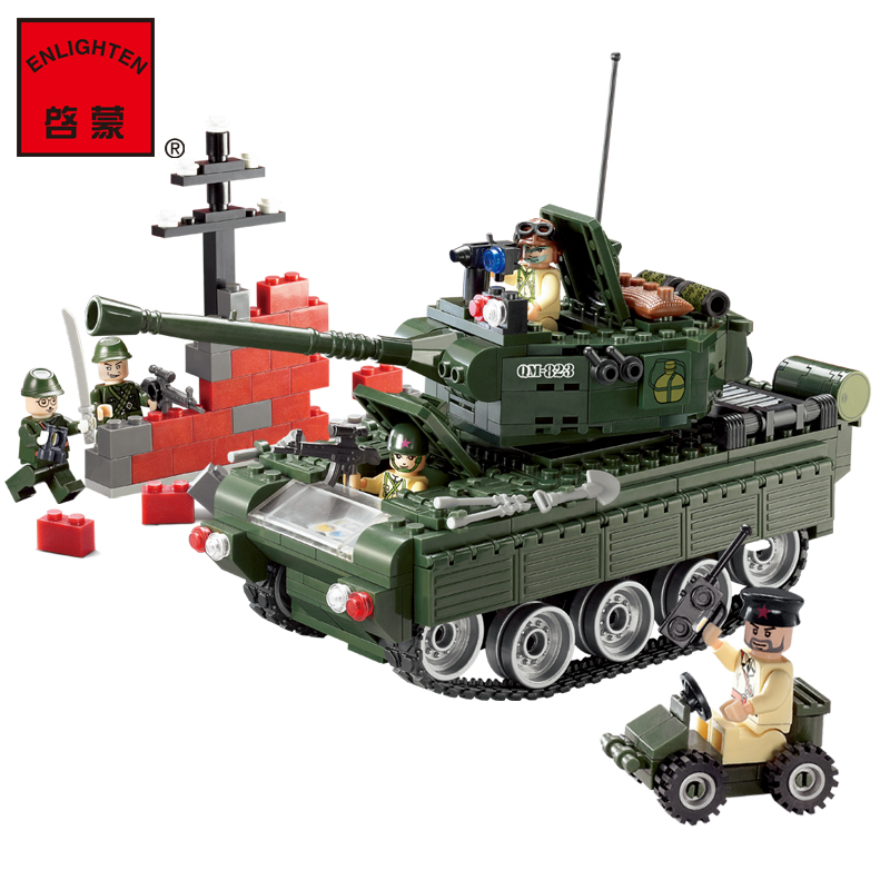 Enlighten 823 Combat Zones Modern Military Army Tank SWAT Model DIY Bricks Building Block Toys For Gift enlighten 1406 8 in 1 combat zones military army cars aircraft carrier weapon building blocks toys for children