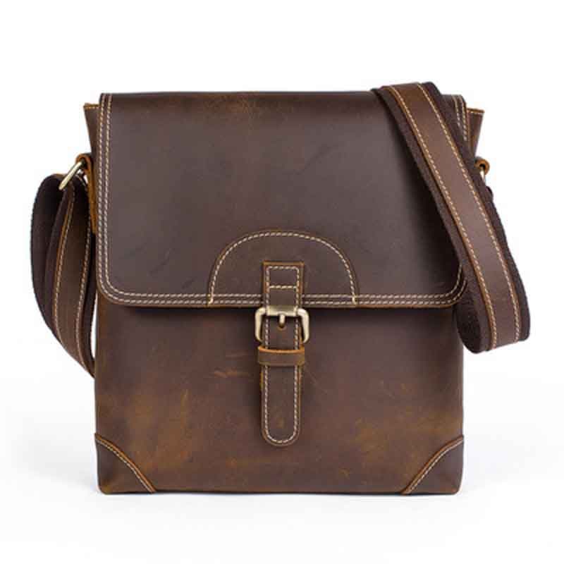 Casual Retro Genuine Leather Men Shoulder Cross Body Bag Vintage Flap Men Messenger Bag Bolsas Mujer Luxury Men Bags MLT8125