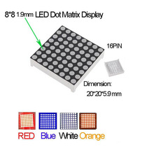 2pcs 8x8 Mini Dot Matrix LED Display  Common Anode Digital Tube 16-pin 20mmx20mm 1.9mm DIY Electronic Kit