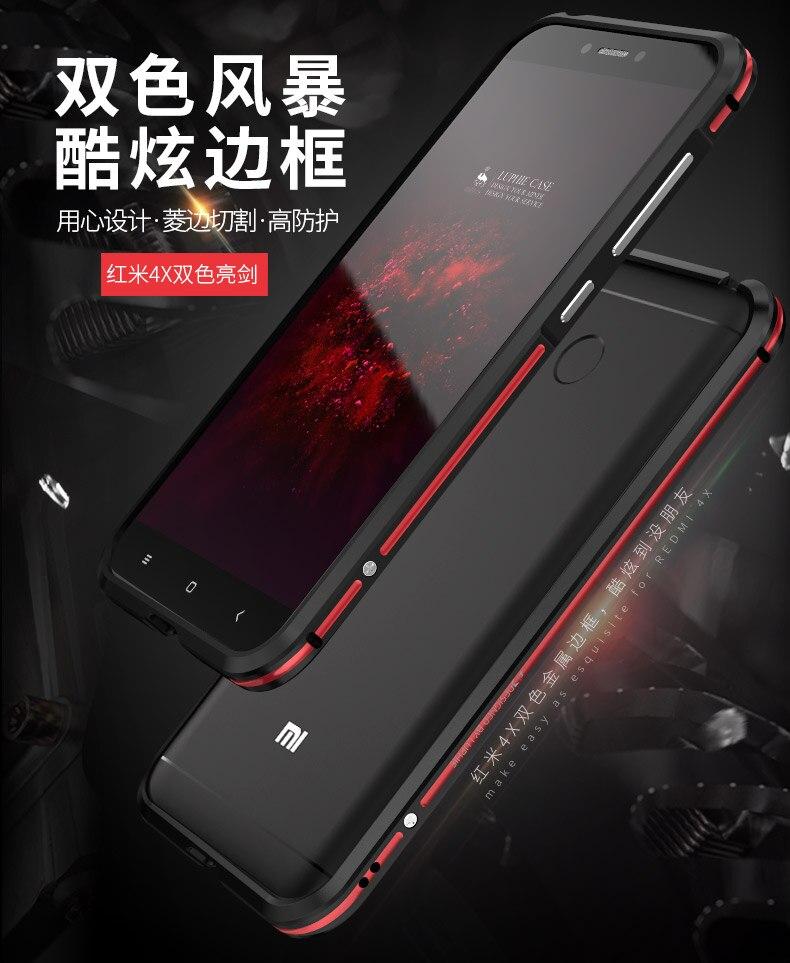 imágenes para LUPHIE 4X Color Dual de Parachoques del Metal para Xiaomi Redmi Nunca Marco De Aluminio fundido Botón Separado a prueba de Golpes Marco Mi Redmi 4X caso