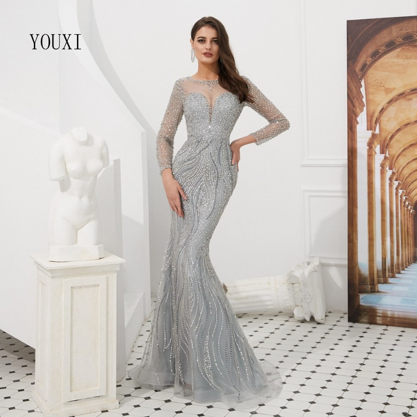 Luxury Long Sleeve Evening Dresses 2019 Elegant Diamond Sequined Mermaid Sparkly Gold Gray Evening Gowns Real