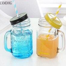 Vidrio Paja jugo de Frutas de verano de la vendimia Helado Claro botellas de bebidas frías Personalidad de Color Frasco de Vidrio Botella de Agua Botella De Bebida