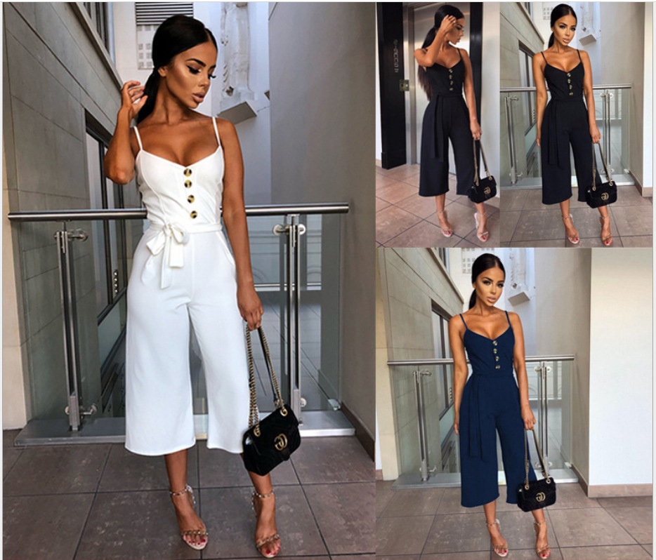 Eskulla Fashion Women Solid Waistband Suspender Overalls Jumpsuits Decorative Button  Casual clothing