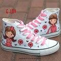 E-LOV милые девушки красное сердце Картина Конструкции Ручной Росписью Холст Обувь Персонализированные Взрослых Повседневная Обувь Милые Туфли На Платформе Пользовательские