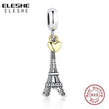 925 Sterling Silver EIFFEL TOWER PENDANT CHARM Gold Heart Bead fit Original Pandora Bracelet Necklace DIY Jewelry Accessories