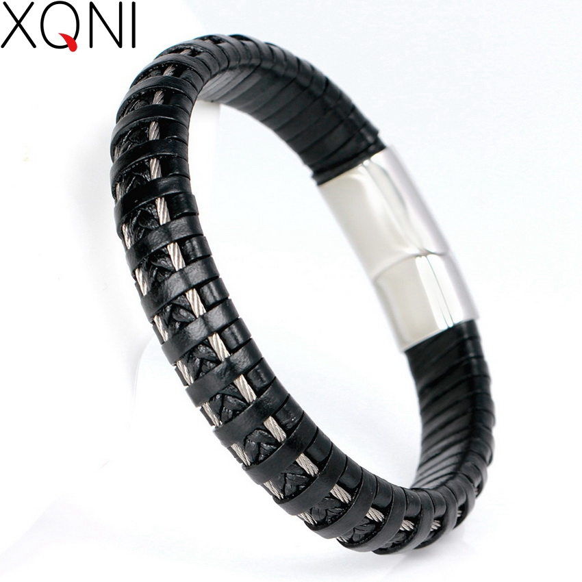 High QualIty 316L Stainless Steel Bracelets Fashion Sporty Handmade Knitted Bandage Friendship Men's Leather Bracelets Bangles friendship bracelets