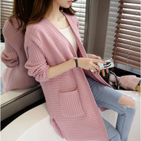 Women Sweater Long Cardigan 2017 New Fashion Autumn Winter Long Sleeve Casual Knitted Cardigan Female Sweaters