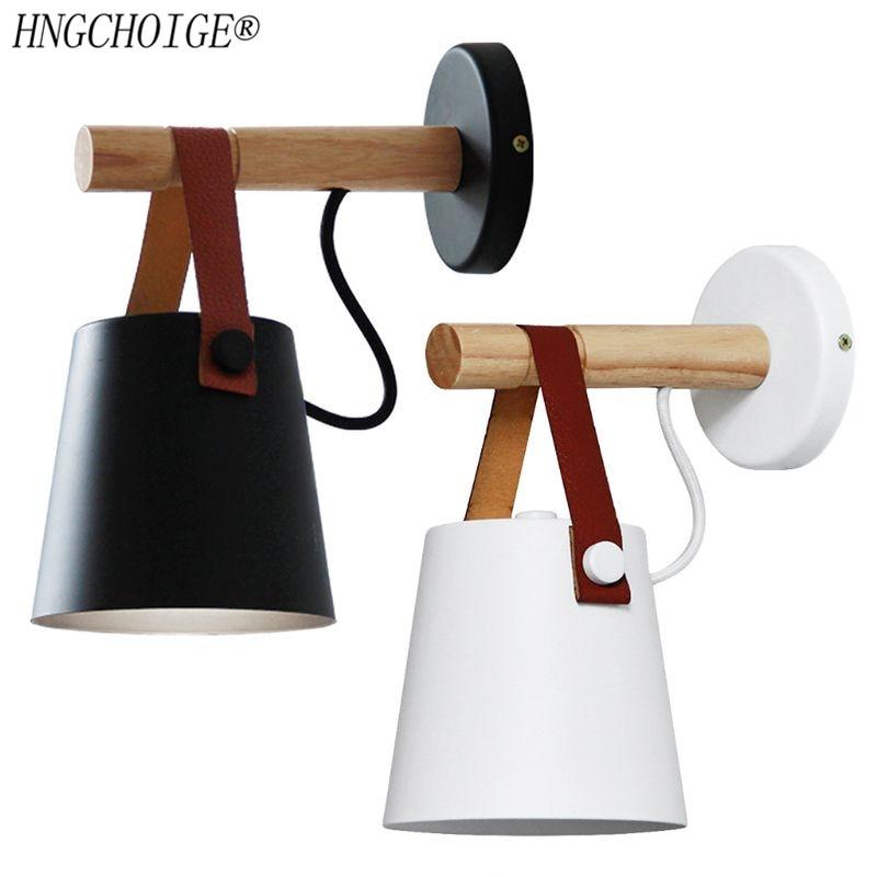 Nordic LED Wall Lamp Wood Hanging Sconce Modern Bedside Light For Living Room Restaurant