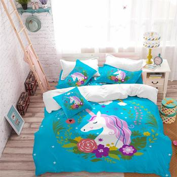 Sky Blue Unicorn Bedding Set