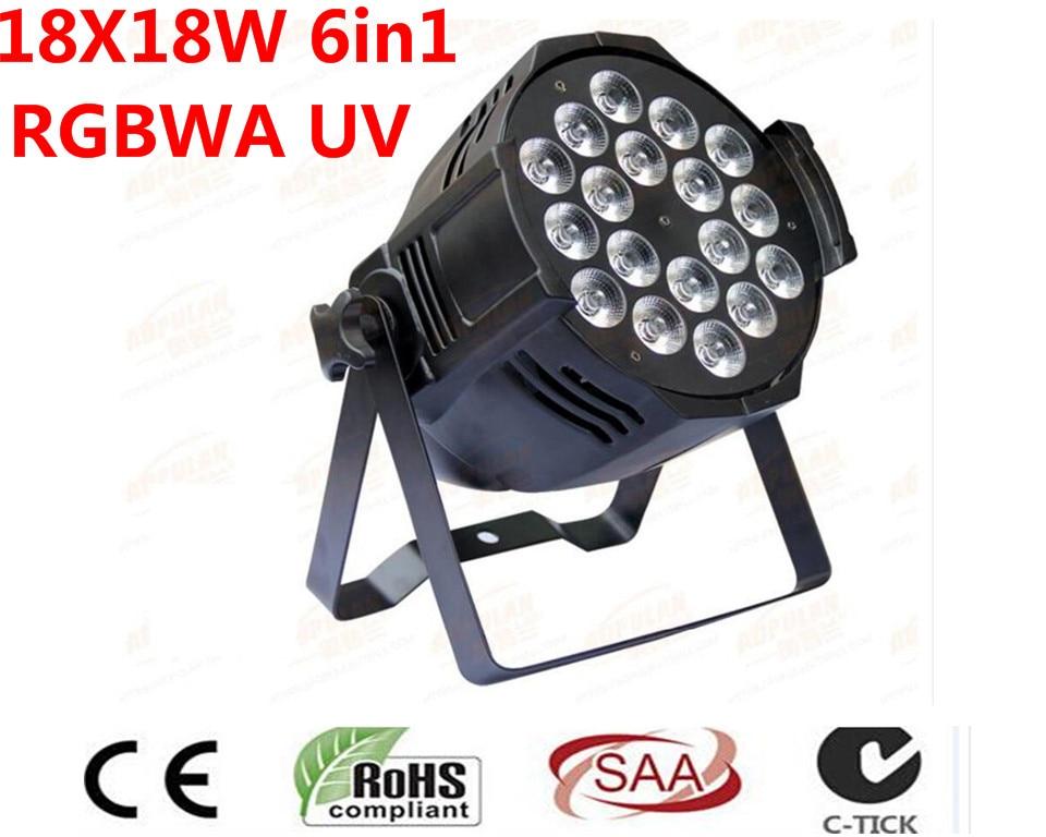 10 UNIDS DJ Par 6IN1 RGBWA UV 18X18 W LED Par Latas Latas de Grado Impermeable IP20 Aluminio Negro vivienda 90 V-240 V