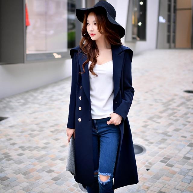 Dabuwawa осень зима темно-синий довольно длинное пальто