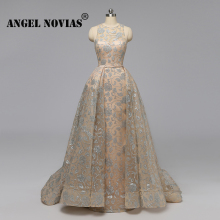 Angel Novias Long Real Picture Champagne Glitters Plus Size Luxury Arabic Abendkleider Evening Dress 2019 with Detachable Skirt