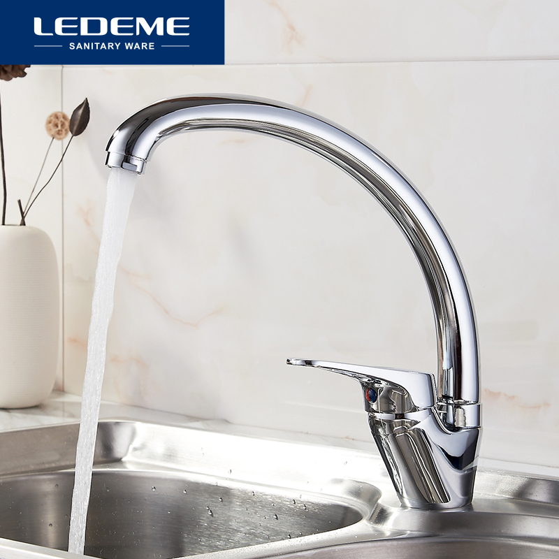 LEDEME 360 Degree Rotation Kitchen Faucet Sink Brass Chrome Cold And Hot Mixer Tap Curved Outlet Pipe Taps Single Handle L5913