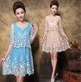 New 2016 Summer Fashion women plus size women elgant mesh embroidery dress half sleeve chiffon inside middle age vestidos XXXXL