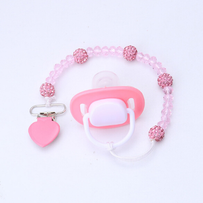 Crystal Pacifier Clips Necklace Dummy Nipple Holder Soother Holder Anti Folder Pacifier Clip Baby Stroller Hook Hanging Strap