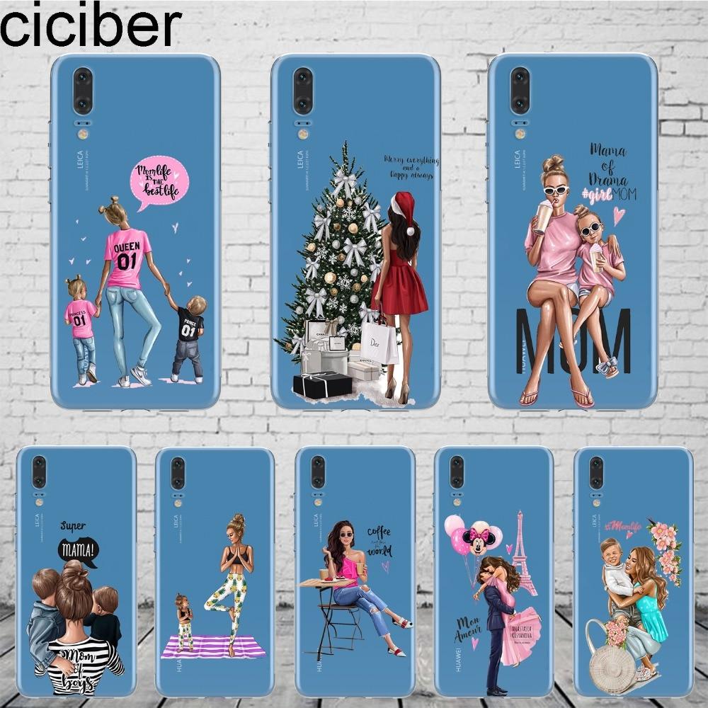 ciciber Queen Princess Super MaMa Mom Of Girls Baby Girl Phone Case Cover For HUAWEI P20 Lite Honor 9 10 P9 P10 Plus Coqu