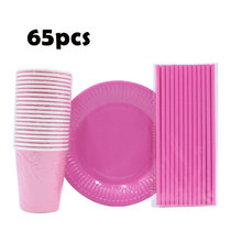 Plates Paper Cups Straws Party-Supplies Wedding-Decorations Disposable Tableware Shower-Favors
