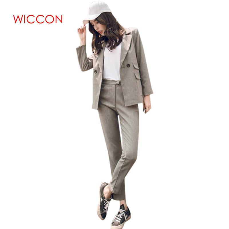 2020 Women Two Piece Sets Short Gray Solid Blazer High Waist Pant Office Lady Notched Jacket Pant Suits Korean Outfits Femme