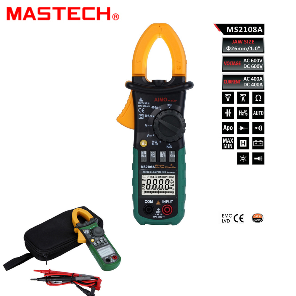 Mastech MS2108A Digital Clamp Multimeter Frequency Max./Min.Value Measurement Holding Lighting Bulb
