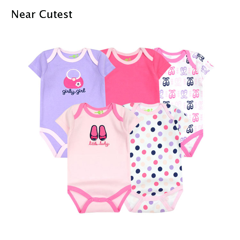 Near Cutest 5pcs/lot 2017 Summer Baby Boy Clothes Short Sleeve Cartoon Romper Baby Romper Infant Rompers Baby Boy Girl Clothes