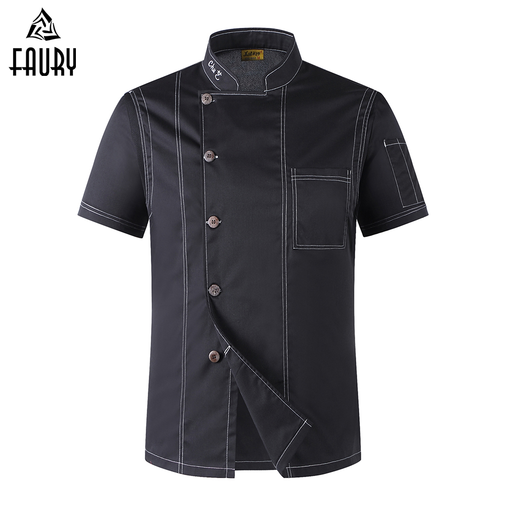 Wholesale Unisex Cook Clothes Men Single Breasted High Quality Kitchen Cook Uniforms Short-sleeved Restaurant Bakery Waiter Tops