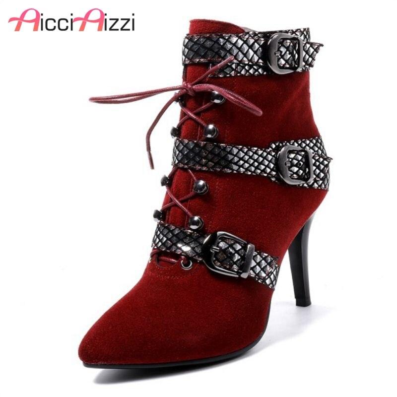 Snakeskin Mujeres 34 Aicciaizzi Negro Patrón Cuero Alto Mezclado Botas rojo 40 Metal Tamaño Color Tobillo Cremallera Hebilla Real De Tacón xwt5UwZarq