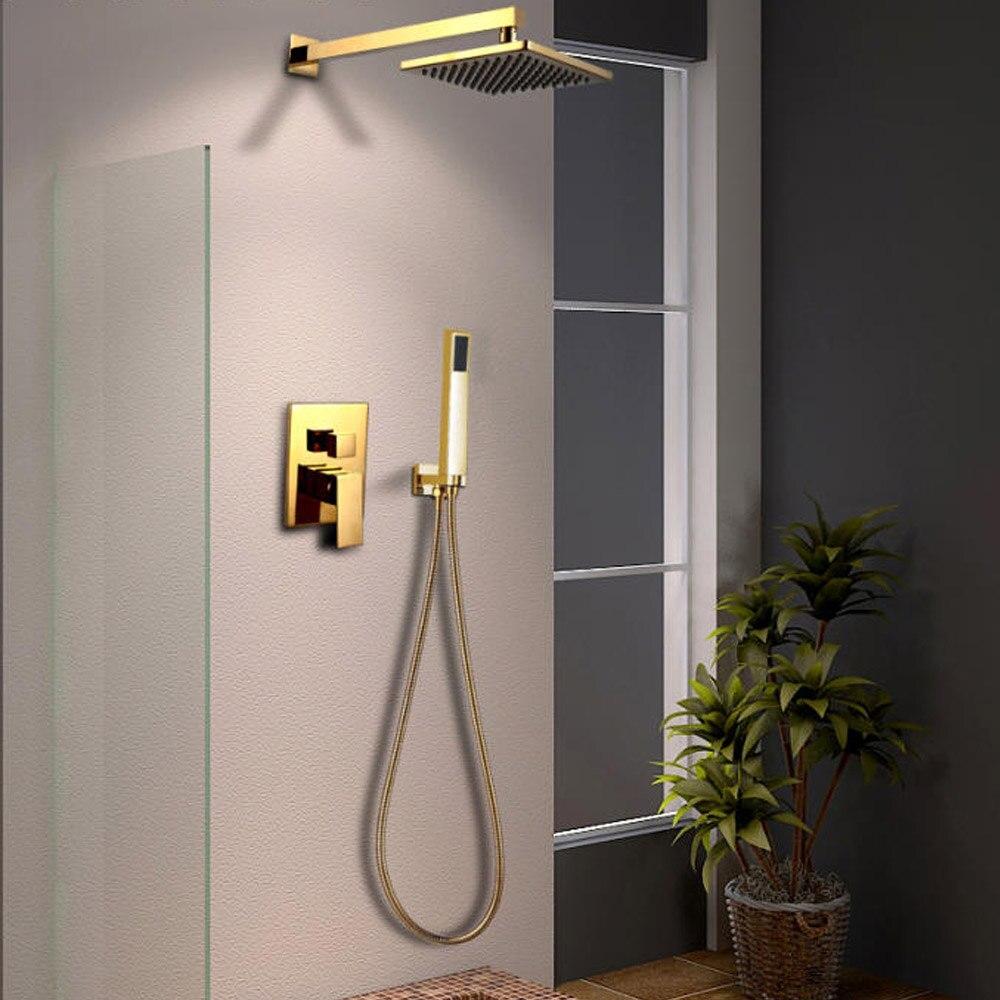 Dofaso or solide cuivre salle de bain ensemble de douche plafond Rianfall pomme de douche robinet mural bras de douche mélangeur ensemble d'eau