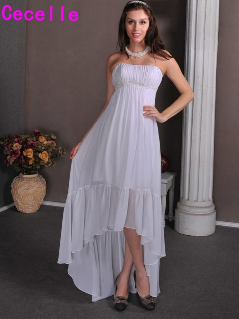 Cheap Hi Lo Tea Length Maternity Wedding Dresses Strapless Ruched