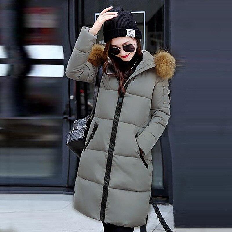 ФОТО Winter 2017 Fashion Hair Collar Hooded Long Zipper Outwear Cotton Padded Warm Jacket Women Casual Parkas Overcoat