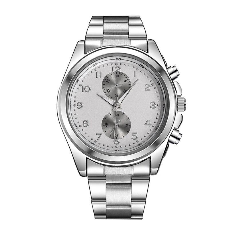 Mens Fashion Stainless Steel Strap Business Man Quartz Wrist Watch 80611