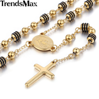 Stainless Steel Bead Chain Jesus Christ Cross Pendant Rosary Necklace Mens Womens Unisex Jewelry