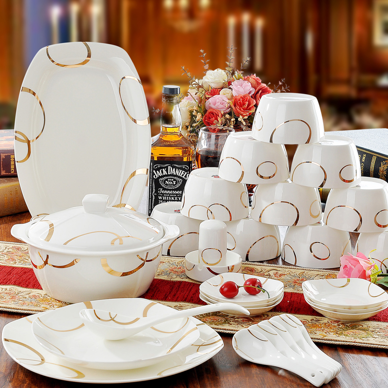 dish and plates ceram bowls combination dinnerware set 46pcs  ceramic tableware bone china luxury health