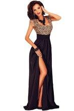 Frauen Bühnentanzabnutzung cocktail parteien Bodenlangen abendessen Kleid Cocktail Erstaunliche Gold Spitze Overlay Slit Maxi Kleid 60809