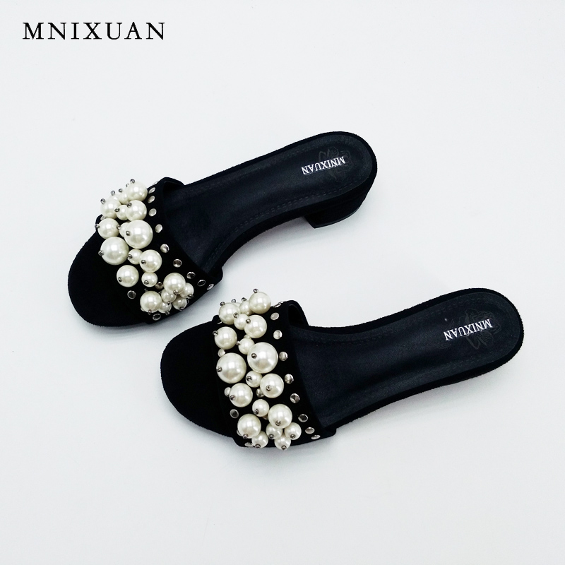 High quality real leather Lady slides Shoes women 2017 summer new female thick heel sandales mule slippers big size 41 red black 2017 summer new women sandals slipper shoes fashion rhinestone thick high heel female slides snadals black plus size shoes xp35