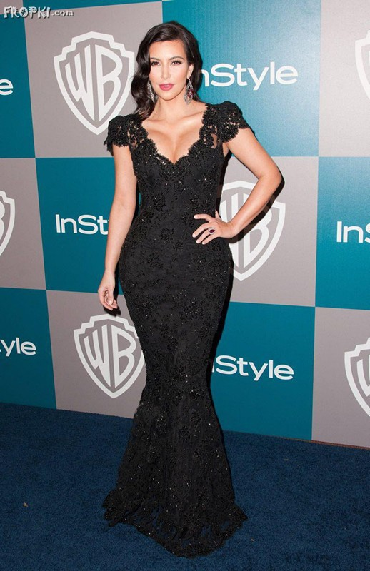 Kim Kardashian Golden Sexy Cap Sleeve Globe Awards Night V Neck Black Lace Mermaid Floor-Length Celebrity   bridesmaid     Dresses