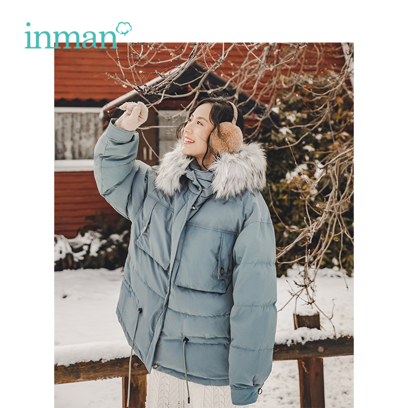 INMAN Winter New Arrival Female Hooded Fur Collar Korean Handsome Short Section Women   Down     Coat