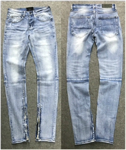 Vintage Wash Indigo Denim Jeans 2017 Zip Ankle Slim Fit Button Up Biker Jeans Free Shipping