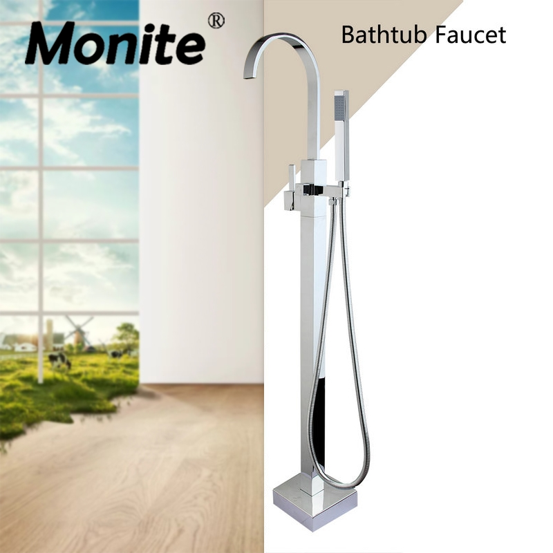 Monite Floor Mounted Tub Filler Faucet with Hand Shower Chrome Freestanding Shower Faucet Set Square Design Bath Shower Sets sea sky bath shower curtain floor rug 2pcs set