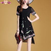New Women Summer Elegant Embroidery Irregular Chiffon Dress Short Sleeve Fashion Floral Dress Female Casual Sundress
