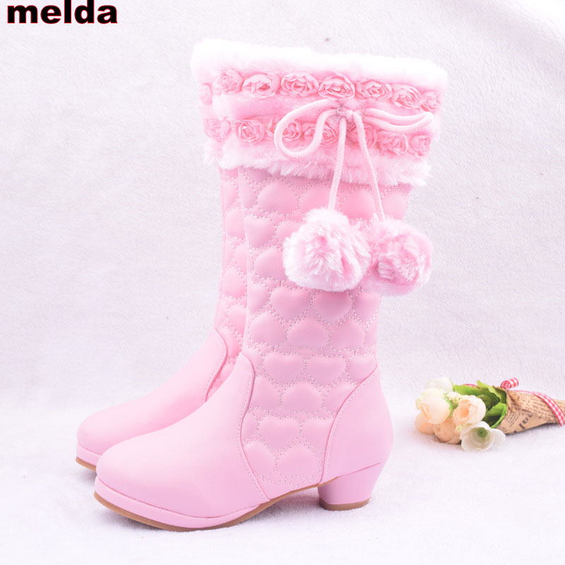 EUR 28-38 Girls High Boots 2017 New Winter Mid-Calf Princess Fashion Boots Kids Snow Boots For Girls Flower Leather Plush Shoes double buckle cross straps mid calf boots