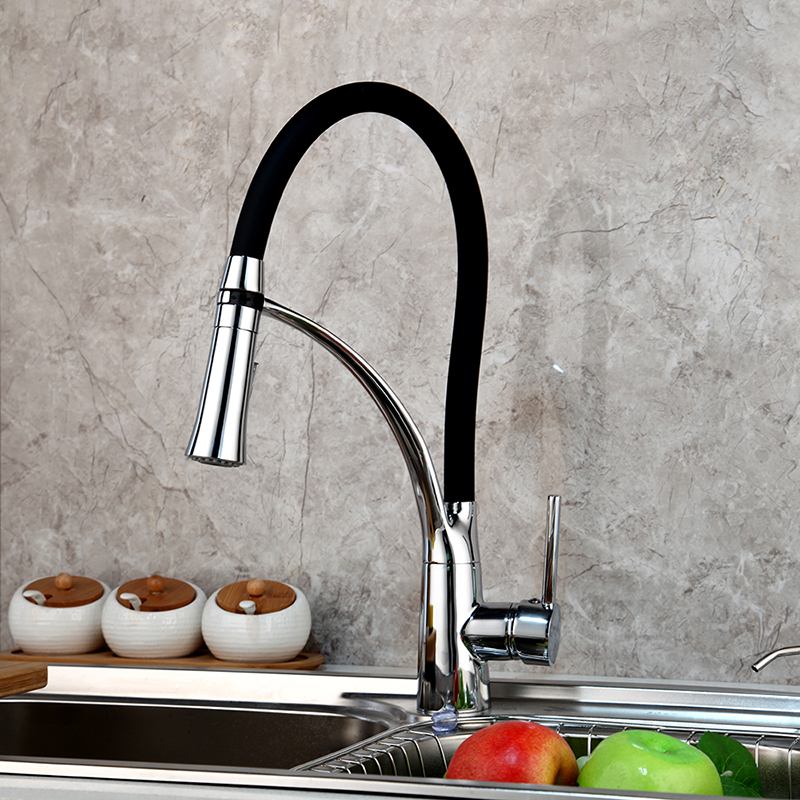 kitchen faucet soild brass polished chrome kitchen faucet swivel pull down spout kitchen sink tap mixer torneira cozinha faucet