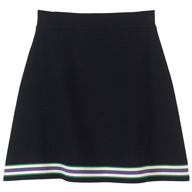 Rétro rayé Mini jupe Femme été femmes jupe fendu tricot jupe piste bas taille haute - 2