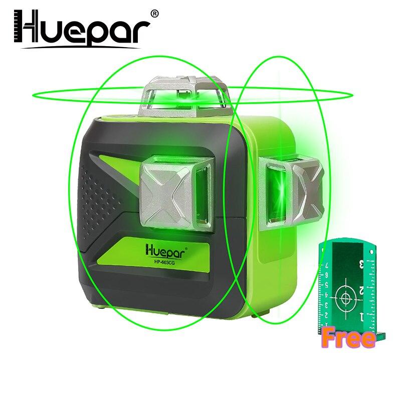 Huepar 12 Linhas 3D Linha Transversal Nível Do Laser Auto-Nivelamento 360 Vertical & Horizontal Verde Feixe de Carga USB Uso dry & Bateria Li-ion