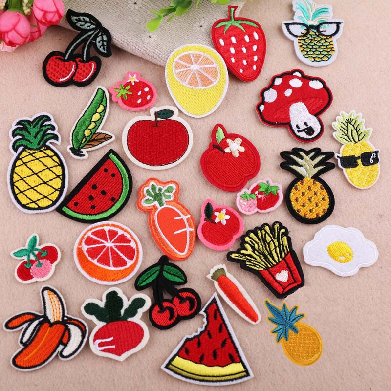 2dccbfd88575 1Pcs Cherry Banana Pineapple Pear Foods Fruits Embroidery Iron On ...
