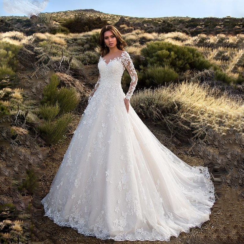 MIAODUO 2019 Wedding Dress Sexy V Neck Backless A Line Sheer Lace Applique Long Sleeve Bridal Dress Classic Wedding Gown